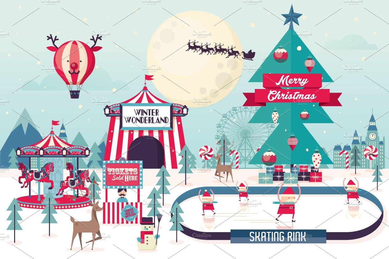 winter wonderland christmas template ~ Illustrations on Creative ...
