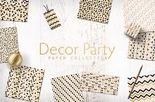 Decor Party Gold Digital Papers