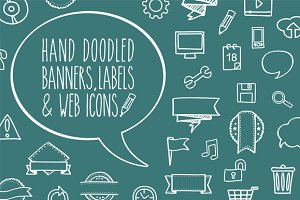 Hand-doodled  banners & web icons