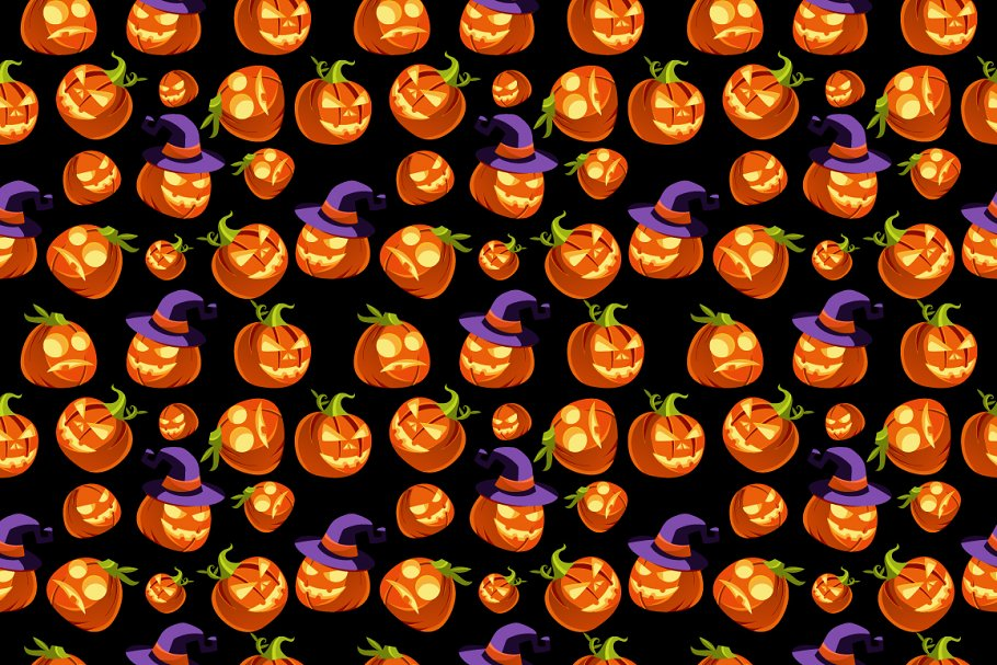 Pattern scary halloween pumpkins
