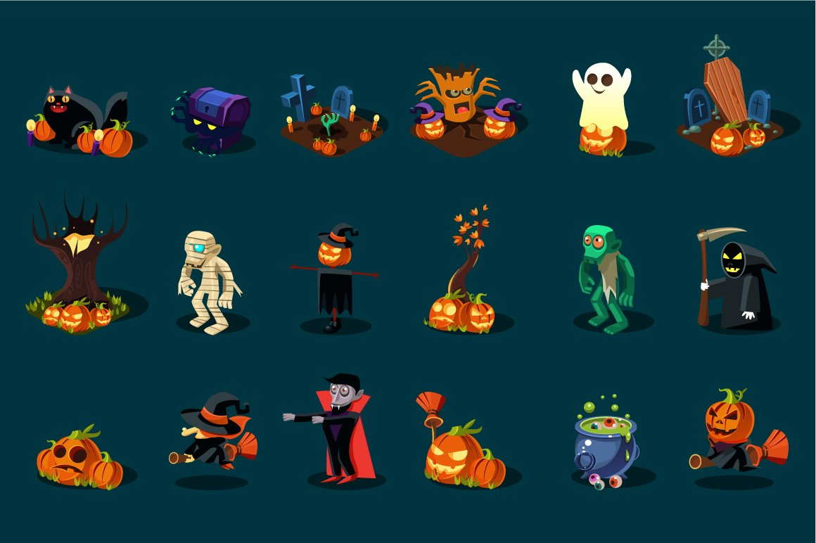 Halloween monsters and items ~ Web Elements ~ Creative Market