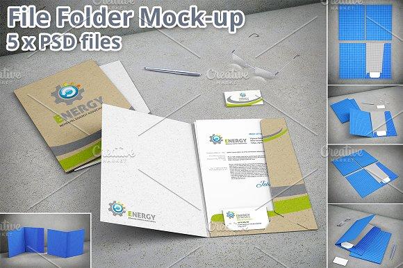 Stationary File Folder Mockup 5xPSD