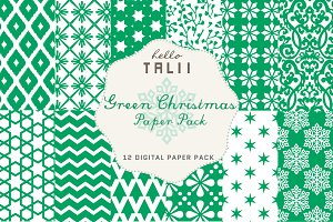 SALE! Green Christmas Paper Pack