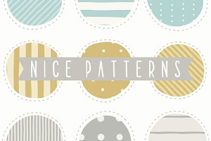 Set of 9 nice hand drawn patterns