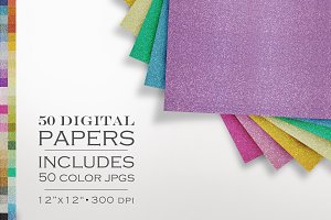 51 Piece Glitter Digital Paper