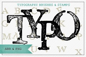 Typography Alphabet Brushes & Stamps