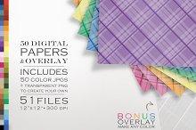 51 Piece Plaid Digital Paper Pack