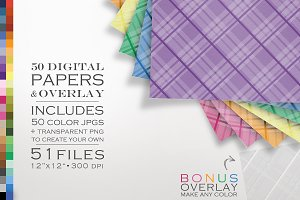 51 Piece Plaid Digital Paper Pack