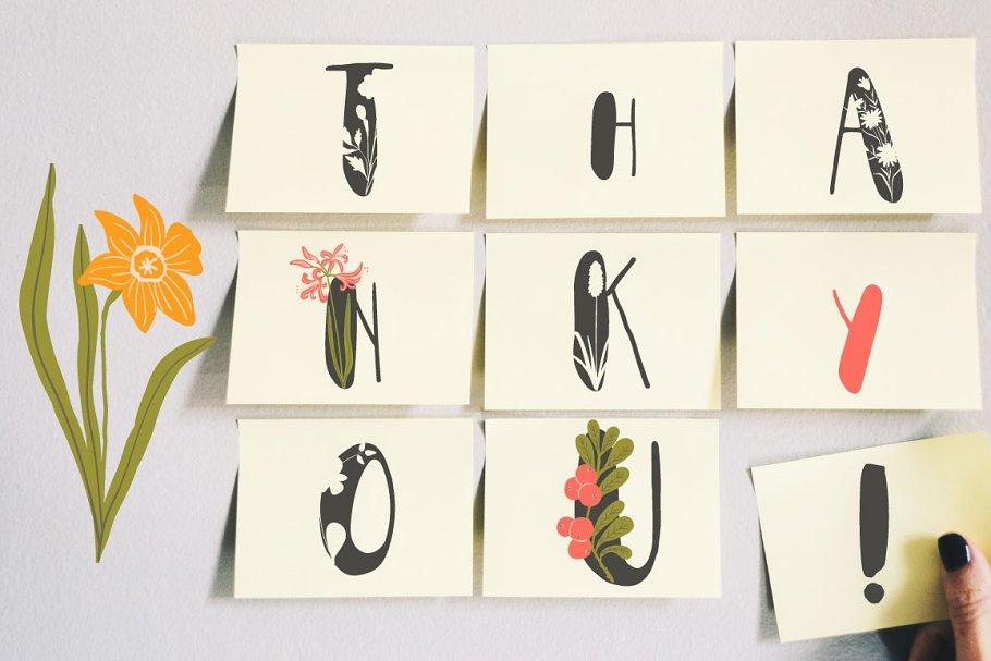 Best Everbloom - floral typeface Vector