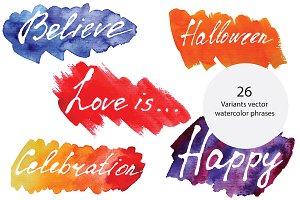Watercolor vector phrases