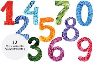 Watercolor vector numbers
