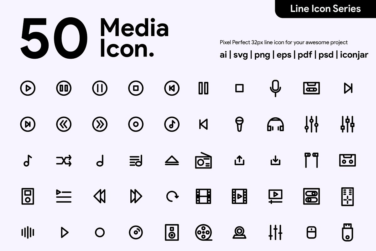 50 Multimedia Line Icon