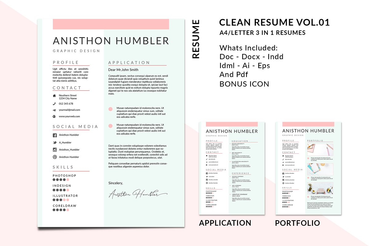 A4/Letter Resume Templates Vol 01