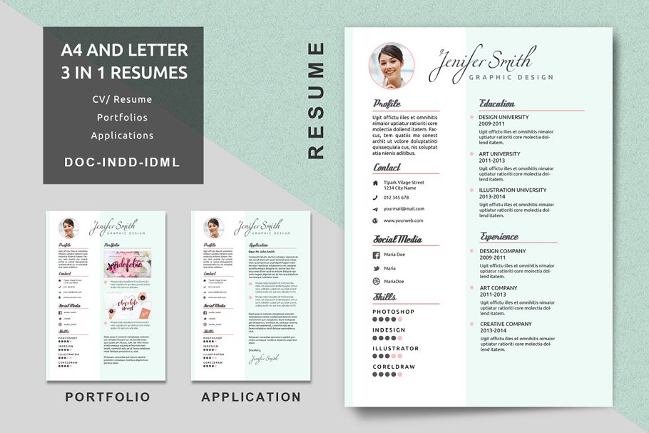 A4/Letter Creative Resume Templates