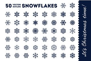 50 vector snowflakes for Christmas