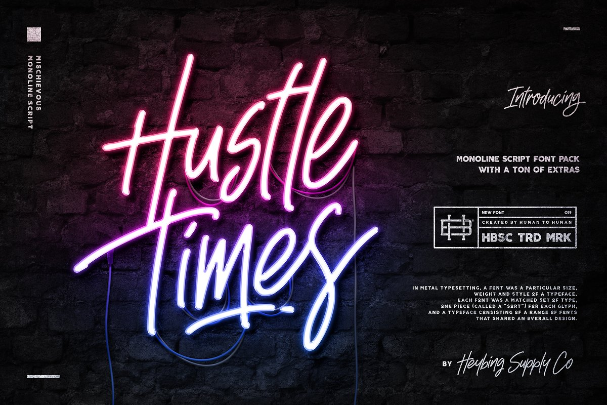 Hustle Times + Extras ~ Display Fonts ~ Creative Market