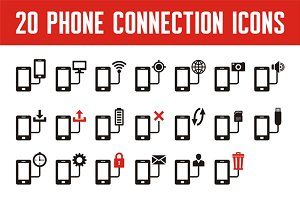20 Phone Connection Vector Icons