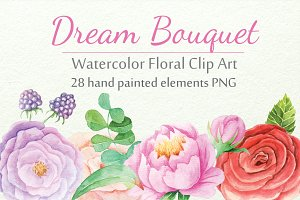 Watercolor Floral DIY Set