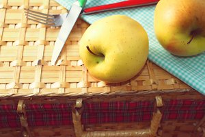 Apples on wattled suitcase