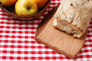 Apples and rustic bread
