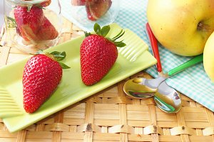 Strawberries at picnic