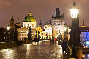 Night view of Charles bridge, Prague