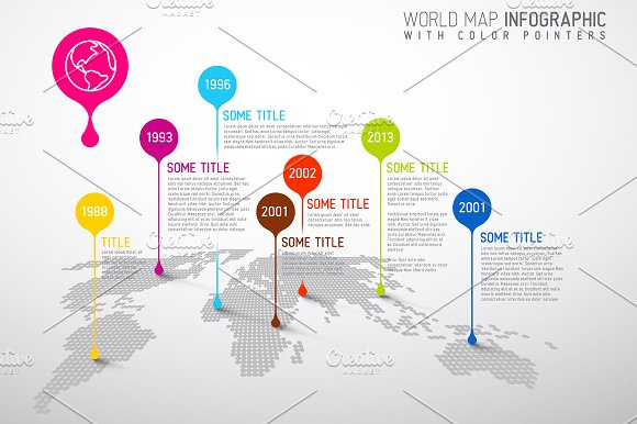 World map infographic with droplets presentation templates world map infographic with droplets presentation templates creative market gumiabroncs Gallery