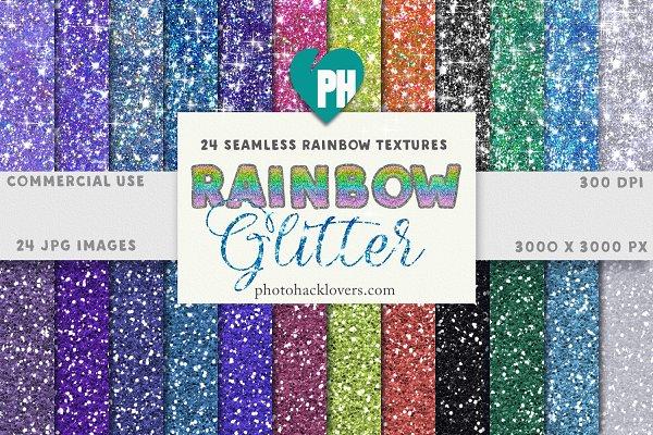 24 Seamless Rainbow Glitters