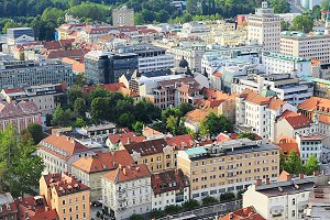 Aerial view on Ljubljana old town