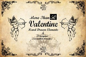 50+ Hand Drawn Valentine Elements