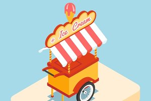 Ice cream cart 3d