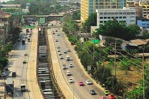 Aerial view of Bangkok road