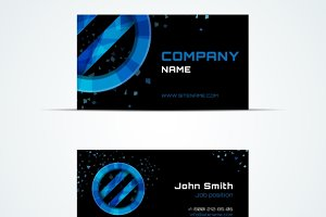 Business card with blue circle