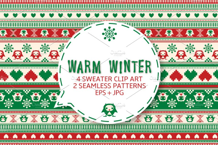 7289b9a9941be Winter sweater seamless ornament. ~ Graphic Patterns ~ Creative Market