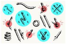 Pencil illustration set