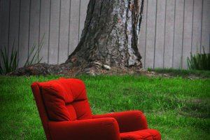 Red Chair on Lawn (Photo)