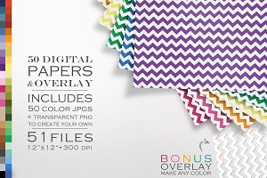 51 Piece Mod Chevron Digital Paper