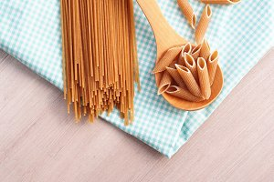 Whole wheat pasta still life