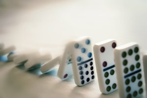 Line of Falling Dominoes 1 (Photo)