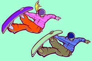 Snowboarder Woman and Man