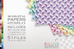 51 Piece Chevron Ombre Paper Pack