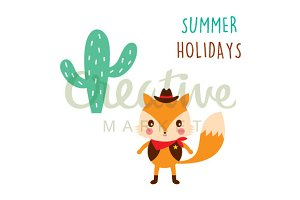 Cute Fox Happy Holidays