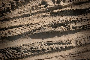Tire Tracks in Sand (Photo)