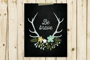 Antlers flowers be brave art print