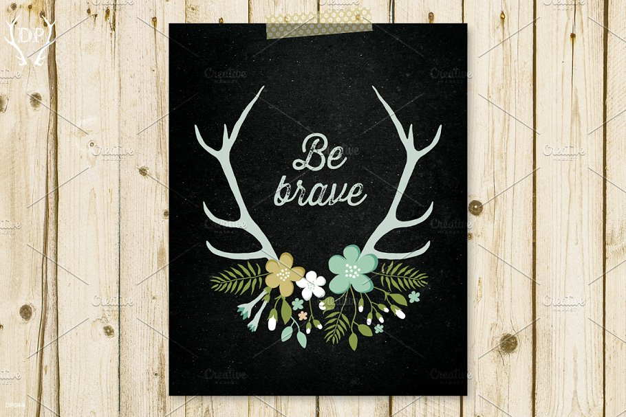 Antlers flowers be brave art print in Illustrations