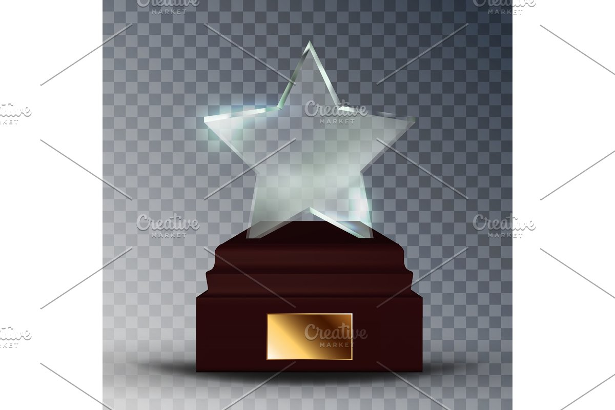 Modern Glass Trophy Award In Star