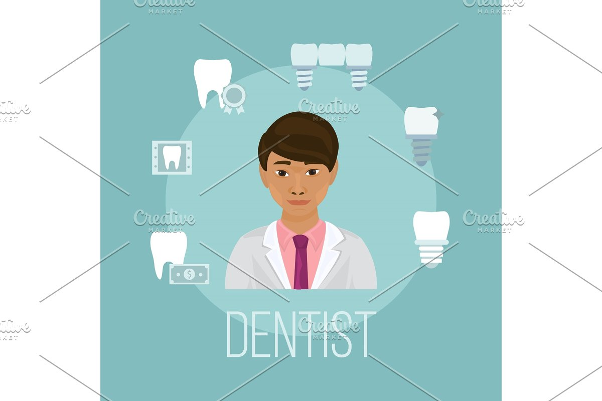 Dentist doctor asian face with tooth
