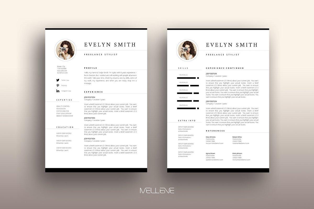 Resume / CV template - Evelyn