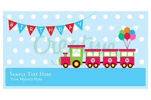Train Birthday Invitation card