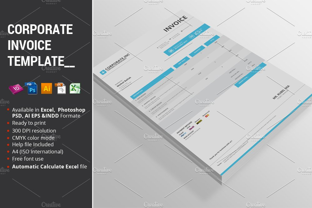 Corporate Invoice Template Stationery Templates Creative Market - Corporate invoice template